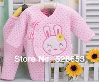 2014 Free Shipping QW36  Cartoon embroidery thermal underwear sets kids baby clothes the Spring and Autumn keep warm