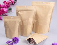 10*15+3cm Stand up kraft paper bag with zipper Zip lock packaging bag Tea coffee bean bag