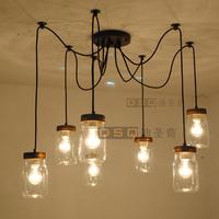 American bottle glass pendant light classic vintage flavor lighting bedroom/indoor pendant light-7pcs bottles