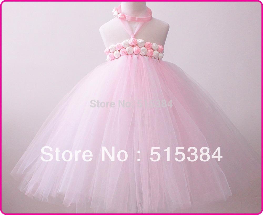 Flower Girl Dress baby pink white chevron dress for flower girls summer elegant long tutu dress 1T-6T 2pcs/set free shipping(China (Mainland))