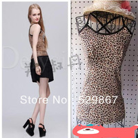 Ms. Leopard cross strap vest, European and American popular style, halter top, bamboo fiber