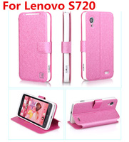 4 Colors In Stock Lenovo S720 Case Flip Cover for Lenovo S720 Leather Case with Stander Freeshipping