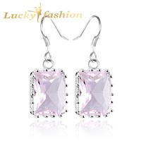 new 2014 hot selling charm & fashion Venus pink crystal drop earrings 925 sterling silver earrings for women