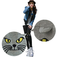 Free shipping autumn new arrivals fashion cute cat 100% cotton black / grey women leggings pants ladies panties trousers pant