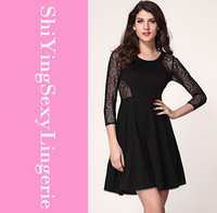elegant dress new arrival sexy party  Black Skater Dress with open back in Sequin and Lace LC2867 vestidos dress long