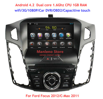 Pure Android 4.2 Car DVD Player Car Radio Stereo for Ford Focus 3 2012 2013 C-Max 2011 GPS Wifi 3G Car DVR OBD2 1.6Ghz CPU