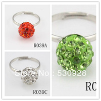 Min. order $10 whole sale (mix colors) ring band new Fashion cheapest trendy Silver rhinestone shamballa open ring Free shipping