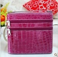 2013 Double Layered character PU Women Lady Zipper Cosmetic Case Bag Makeup Purse Crocodile bag Scissors Concealer Storage Box