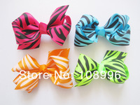 """50pcs/lot 12 colors 3.3-3.5""""  zebra Ribbon Bows without clip, Baby Hair Accessories free shipping"""