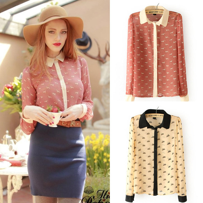 New 2014 Fashion Blouse Ladies' Elegant Pink Swan Dog Animal Print Women Blouse Casual Vintage Shirt Slim HQ Brand Chiffon Tops(China (Mainland))