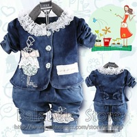 Girl's Autumn Casual Outfit Baby 3set/lot hot  Suit,Long-sleeved Jeans Coat+T-shirt+Jeans Trousers