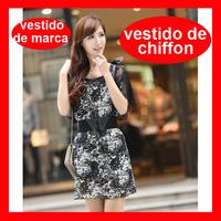 2014 Summer Chiffon Lace Black Dress, Floral Fashion Brand Pattern Dress With Belt 284