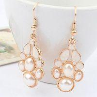 Pearl & Enamel Gold Plated Bohemia Office & Career Sweet Water Drop Earrings 2014 New Fashion Jewelry Gift Women Wholesale E6
