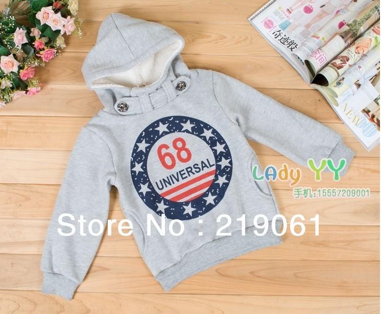 2013New arrival hot sale winter.boys sport fleece shirt, even the cap,cotton with fleece,100%cotton 2 color,(5pcs/lot)BGW-255(China (Mainland))