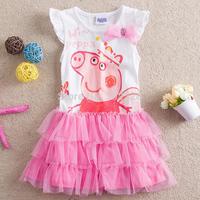 2014 New Fashion Girls short Sleeves Dress Peppa Pig Tutu Dress Party Dress Toddlers Outfit pepa pig dress vestidos de menina