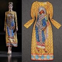 Free Shipping Fall 2013 Women Ancient Egyptian Pharaoh Printed Long Sleeve Retro Dress