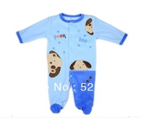 Free Shipping USA Luvable Friends Velour Long Sleeve Baby Romper with Embroidery Applique,jumpsuit ,toddler boys clothing