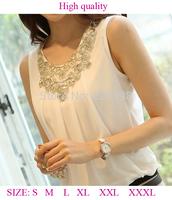 New 2014 Spring Summer Women Blouse Ladies Casual Sleeveless Solid Color Fashion Chiffon Shirt Sheer BlousesPlus Szie XXL XXXL