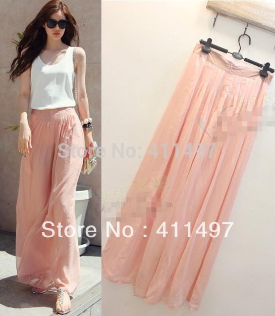 Spring&Summer &Autumn Women Wide Leg Cargo Pants|High Waist Pink,Black Silk Chiffon High End Palazzo Pants(China (Mainland))
