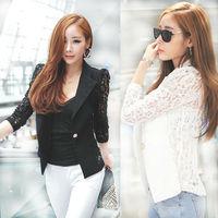 2014 new Top Shirt Sexy Sheer Lace Blazer Lady Suit Outwear Women OL Formal Slim Jacket Black work women White Plus Size nz138