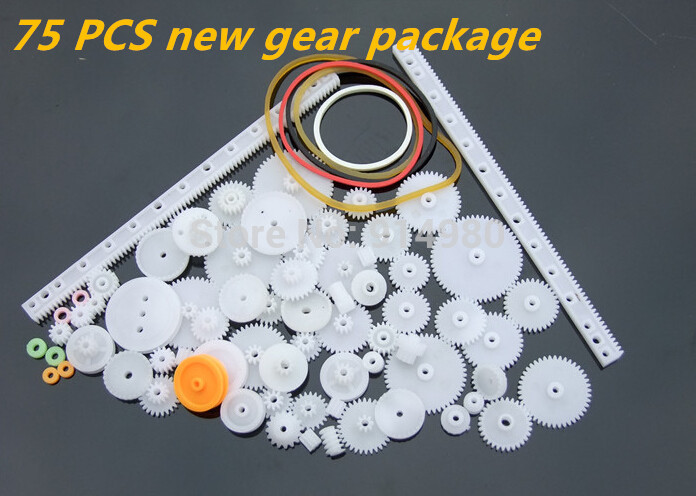 New package75PCS a lot,Plastic gear,rack,pulley,belt,Worm gear,Single-and double-gear,8-56 teeth,Used in toy cars, robots, model(China (Mainland))