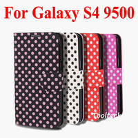 Freeshipping HOT Pretty Speckle Flip Cover Spot Leather Case Cover for Samsung i9500 S4, Perfect Protect Phone Case +Screen film