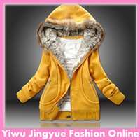 Hot sale  factory sale women thick hoodie warm coat jacket with Fur Collar 3 colors full size  free shipping L0027