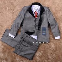2014 new fashion boy child formal suit children's clothing set child party suit blazer suit 5 piece set flower boy