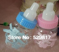 Free shipping 48pcs/lot Baby shower , Milk feeding bottle Candy Box pink or blue ,Baby birth party &celebration gifts packing