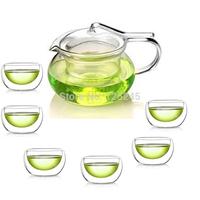 1 Arabian style heat resistant glass teapot+6 double wall glass tea cups 7pcs/set for coffee&tea sets