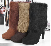 2014new lady high heel boots/white fur boots/PU leather boots 35584