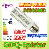 Free shipping 4x E27 E14 B22 12W=60W SMD5630 42LED 110V/220V high power LED corn light Warm/Pure/Cool White