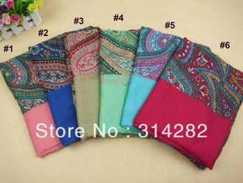 women printe floral cashew polyester shawls fashion long autum muslim scarves/scarf 180*100cm 10pcs/lot wholesale 13 COLOR