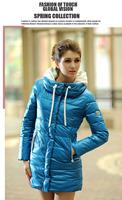 Cheap Hot Selling 2015 New fashion Slim Medium-long Plus size thickening cotton-padded jacket women's Hooded Coat supernova sale