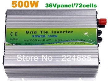 500W Grid tie inverter,110V/220VAC, Pure sine wave inverter,36V panel,with MPPT function,solar inverter,120VAC/230VAC(90-260VAC)