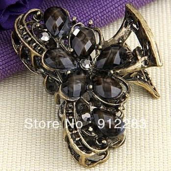 Free Shipping 10 pcs Retro Metal Resin Rhinestone Hair Clip Claw Clamp Fashion #50532