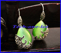 Free Shipping 1pair Tibetan Silver and Water-Drop-Shaped Green Opal Cat's Eye Pendants Drop Earrings