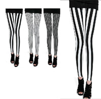 2013 Spring Leggings Brand Women Black and White Stripe Thin Pants Ankle Length