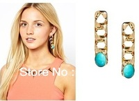 Free Shipping 2013 New Coming Gold Chain Turquoise Design Stud Earring Fashion