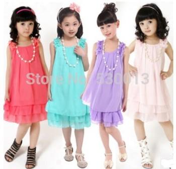 2013  Summer New  Pleated Chiffon Cute Baby Girls Dress Kids  Children's Princess Sleeveless Lace Dresses Girl Party Birthday