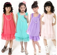 2013  Summer New  Pleated Chiffon Cute Baby Girls Dress Kids  Children's Princess Sleeveless Lace Dresses Girl Party Birthday