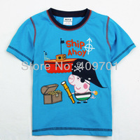 NOVA t shirts 100% cotton boy Kids wear clothing 2013 fashion George peppa pig pirate t-shirts with Ship short sleeve C4161#