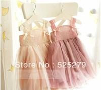 2013 new Summer girls dress retail baby Chiffon tutu princess braces lace dress 2-5 years hot sale children dress free shipping