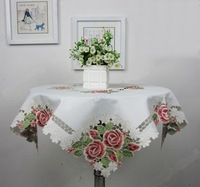 Free Shipping High Quality 85*85cm Elegant 100% Polyester Floral Embroidery Tablecloth Embroidered Rose Table Cloth Linen Covers
