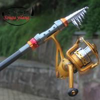 Promotion !! 2.4M Telescope Fishing Rod Set +AF4000 Fishing Reel+ 7 Accessories Fishing Rods Line Reel Float Hooks Bell