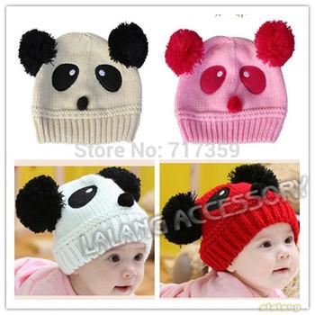 On Sale 2PCS 2014 Fashion New Kids Winter Warm Cute Hats Baby Toddler Panda Knit Crochet Children Girl/boy Beanies Caps 652668
