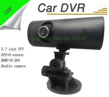 F60 720P Dual Lens Car Camera DVR Motion Detection + G-sensor HDMI + 2.7inch TFT + GPS + H.264 Free Ship