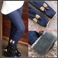 Retail 2014 kids girls jean bow pants cotton cashmere pants trousers elastic waist legging warm pants winter 846