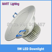 9W  super brighter led  recessed downlights  constant current 950lm  lamps for home AC85-265V