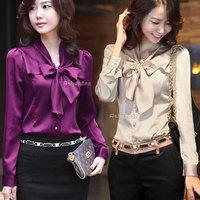 Fashion Ladies Womens Elegant Bow Bowtie Button Down Blouse Shirt Tops